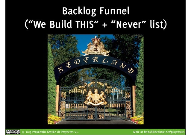 "© 2013 Proyectalis Gestión de Proyectos S.L. More at http://Slideshare.net/proyectalis Backlog Funnel (""We Build THIS"" + ""..."