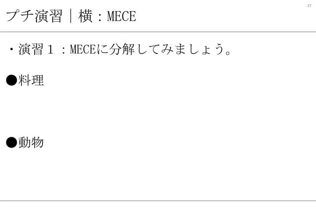 27  プチ演習 横:MECE ・演習1:MECEに分解してみましょう。 ●料理 ・和・洋・中・その他 ・生・焼/炒・蒸/煮 (火の通しかたで水を使うか) ●動物 ・陸上―海上-その他 ・空が飛べる―飛べない
