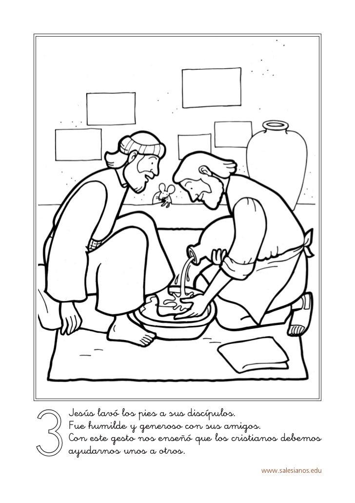 3    Jesús lavó los pies a sus discípulos.    Fue humilde y generoso con sus amigos.    Con este gesto nos enseñó que los ...