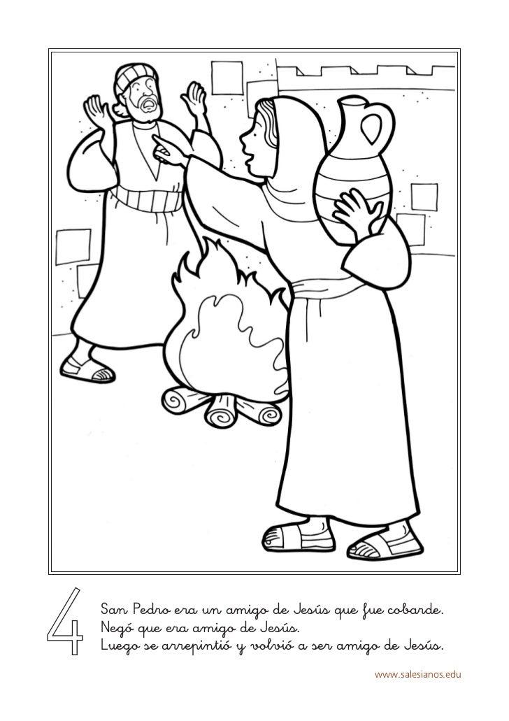 4   San Pedro era un amigo de Jesús que fue cobarde.    Negó que era amigo de Jesús.    Luego se arrepintió y volvió a ser...