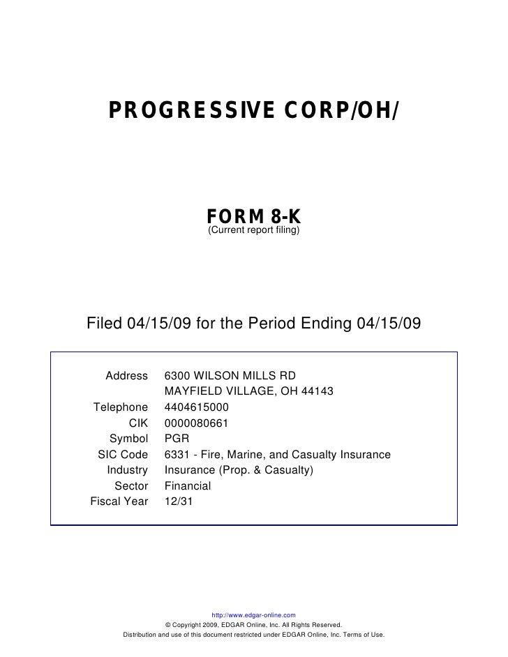 PROGRESSIVE CORP/OH/                                     FORM 8-K                                  (Current report filing)...