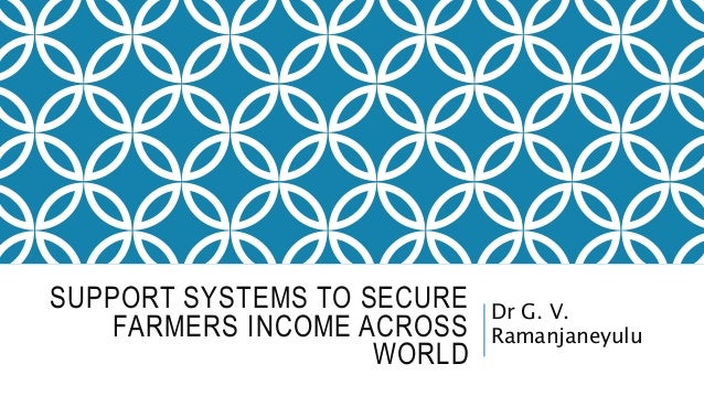 SUPPORT SYSTEMS TO SECURE FARMERS INCOME ACROSS WORLD Dr G. V. Ramanjaneyulu