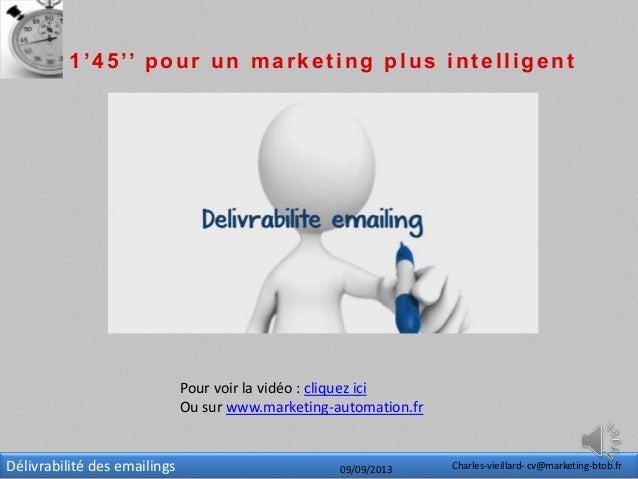 Délivrabilité des emailings 09/09/2013 Charles-vieillard- cv@marketing-btob.fr 1'45'' pour un marketing plus intelligent P...