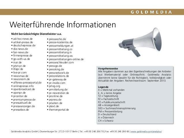 Weiterführende Informationen Vorgehensweise Alle Angaben stammen aus den Eigenbeschreibungen der Anbieter laut Werbemateri...