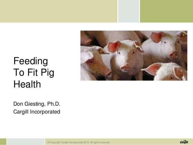 Feeding To Fit Pig Health Don Giesting, Ph.D. Cargill Incorporated  . © Copyright Cargill, Incorporated 2013. All rights r...