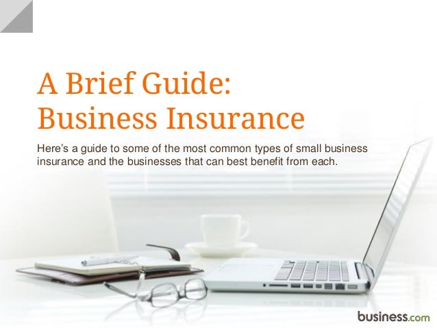 A Brief Guide: Business Insurance Here's a guide to some of the most common types of small business insurance and the busi...