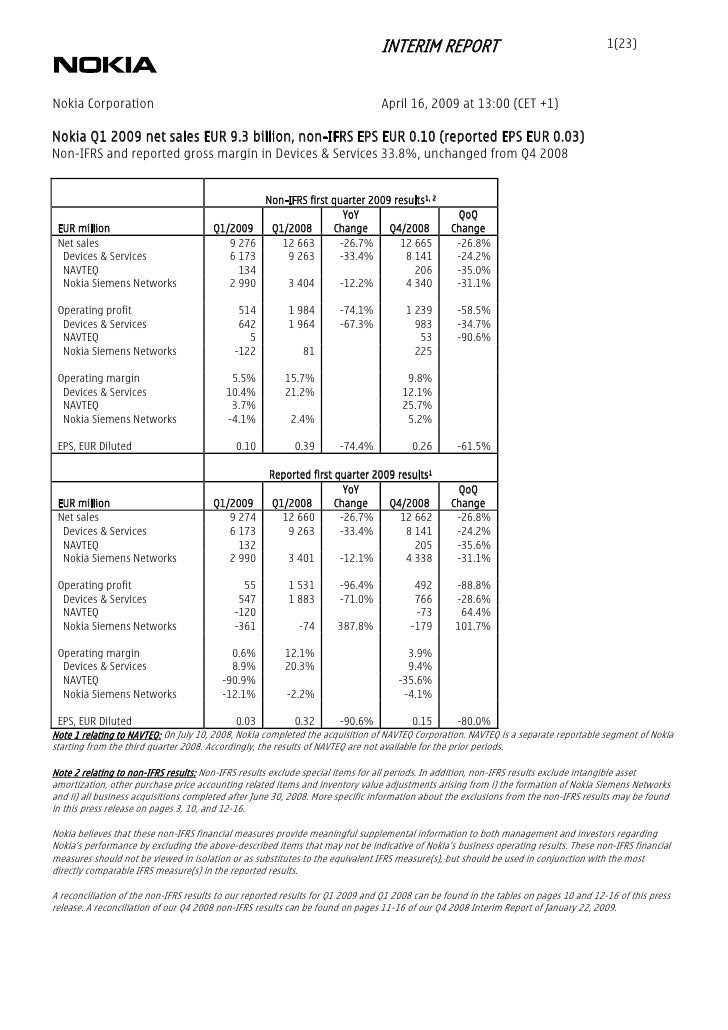 INTERIM REPORT                                         1(23)    Nokia Corporation                                         ...
