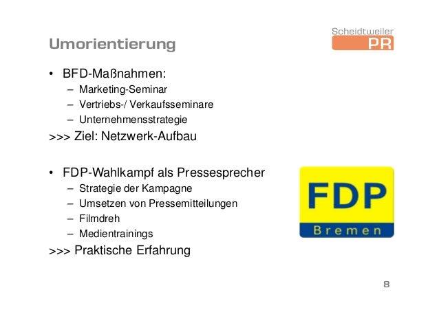 Umorientierung • BFD-Maßnahmen: – Marketing-Seminar – Vertriebs-/ Verkaufsseminare – Unternehmensstrategie >>> Ziel: Netzw...