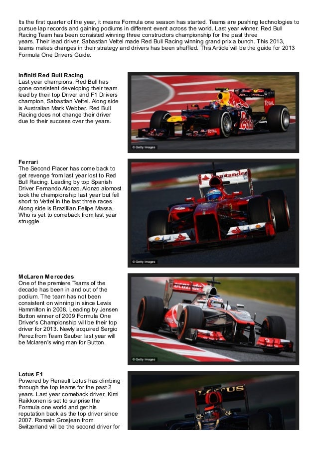 Its the first quarter of the year, it means Formula one season has started. Teams are pushing technologies topursue lap re...