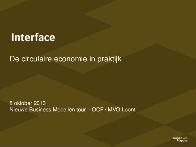 De circulaire economie in praktijk  8 oktober 2013 Nieuwe Business Modellen tour – OCF / MVO Loont
