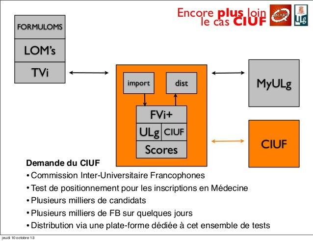 Encore plus loin le cas CIUF LOM's TVi FORMULOMS MyULg FVi+ import dist Scores ULg CIUF CIUF Demande du CIUF •Commission I...