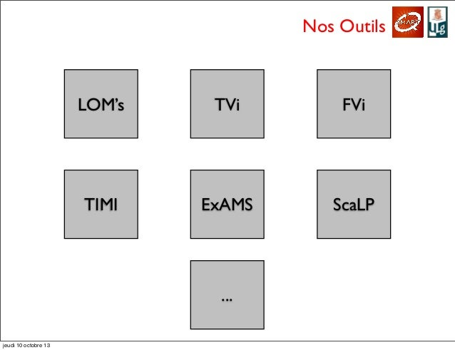 Nos Outils LOM's TVi FVi TIMI ExAMS ScaLP ... jeudi 10 octobre 13