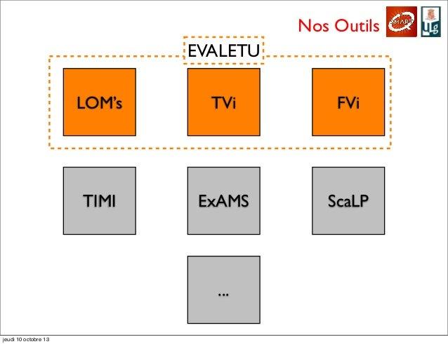 Nos Outils LOM's TVi FVi TIMI ExAMS ScaLP ... EVALETU jeudi 10 octobre 13