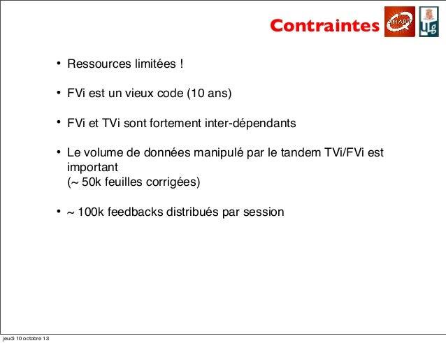 Contraintes • Ressources limitées ! • FVi est un vieux code (10 ans) • FVi et TVi sont fortement inter-dépendants • Le vol...