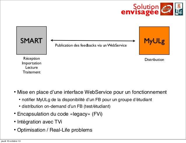 SMART MyULg Solution envisagée Publication des feedbacks via un WebService DistributionRéception Importation Lecture Trait...