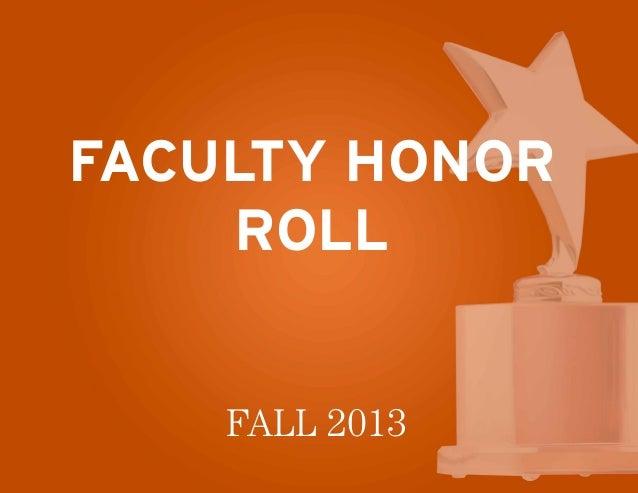 Faculty Honor Roll Fall 2013