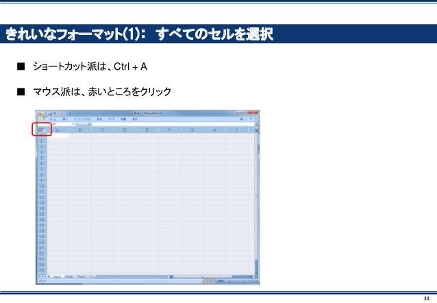 34 きれいなフォーマット(1): すべてのセルを選択 ■ ショートカット派は、Ctrl + A ■ マウス派は、赤いところをクリック