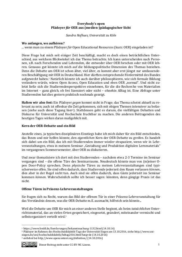DieserBeitragstehtunterCC-BY-NC-Lizenz. 1 Everybody'sopen PlädoyerfürOERaus(medien-)pädagogischerSicht  Sa...