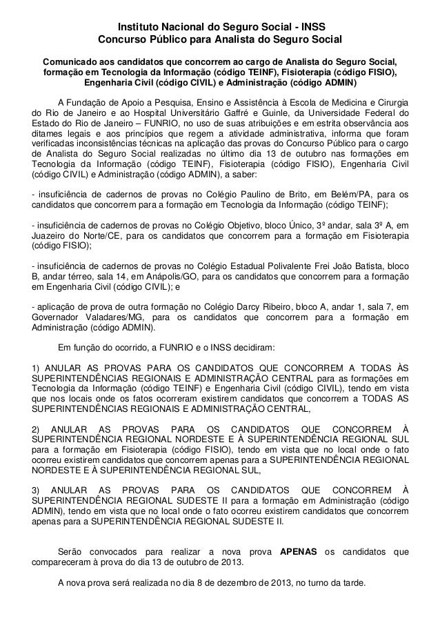 Funrio anuncia cancelamento de provas no Concurso do INSS