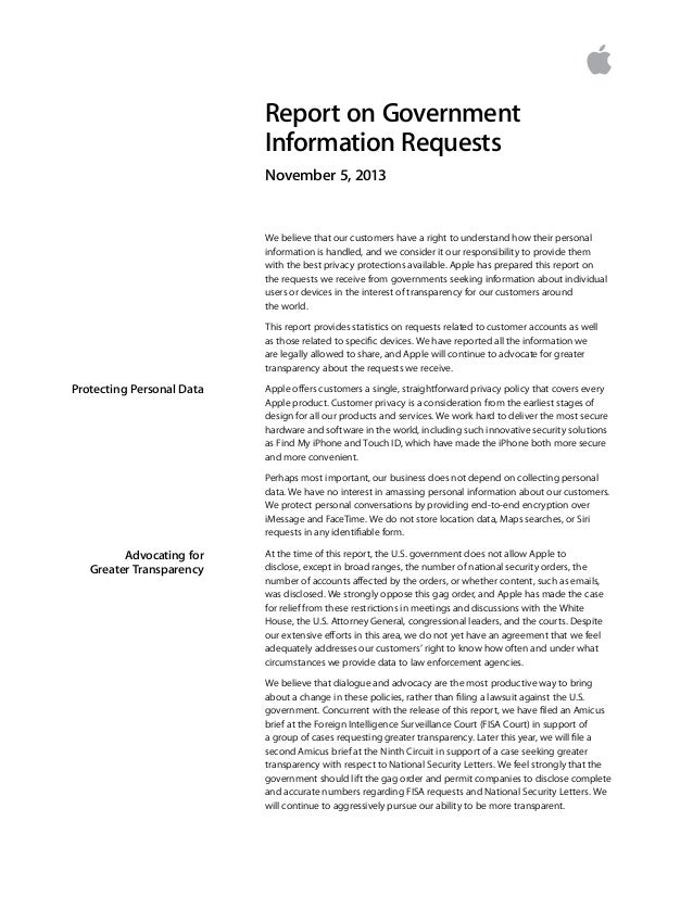 Report on Government Information Requests November 5, 2013  We believe that our customers have a right to understand how t...