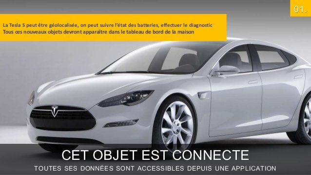 01. La Tesla S peut être géolocalisée, on peut suivre l'état des batteries, effectuer le diagnostic Tous ces nouveaux obje...