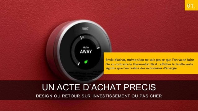 01.  Envie d'achat, même si on ne sait pas ce que l'on va en faire Ou au contraire le thermostat Nest : afficher la feuill...