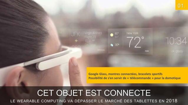 01.  Google Glass, montres connectées, bracelets sportifs Possibilité de s'en servir de « télécommande » pour la domotique...