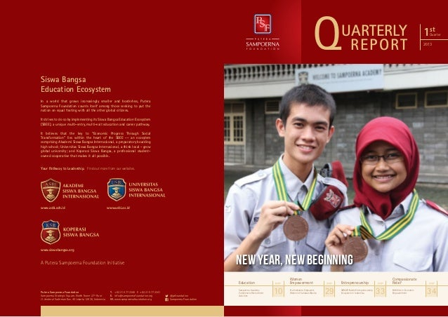 Q  UARTERLY REPORT  1st  Quarter  2013  Siswa Bangsa Education Ecosystem In a world that grows increasingly smaller and bo...