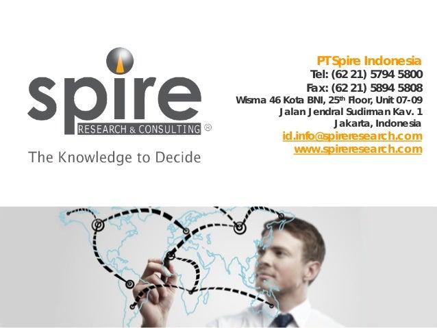 PT Spire Indonesia  Tel: (62 21) 5794 5800 Fax: (62 21) 5894 5808  Wisma 46 Kota BNI, 25th Floor, Unit 07-09 Jalan Jendral...