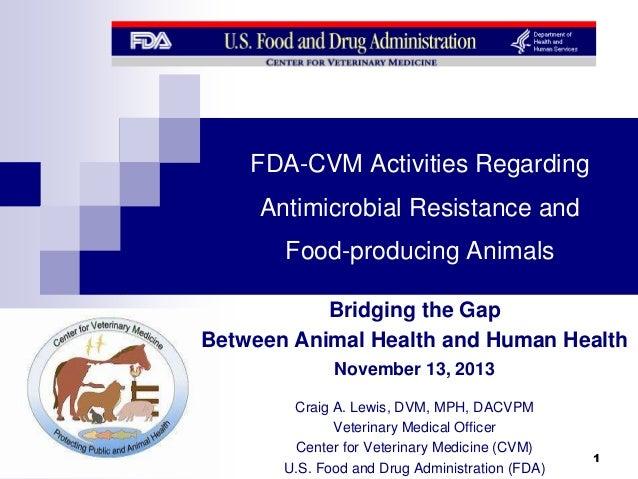 FDA-CVM Activities Regarding Antimicrobial Resistance and Food-producing Animals Bridging the Gap Between Animal Health an...