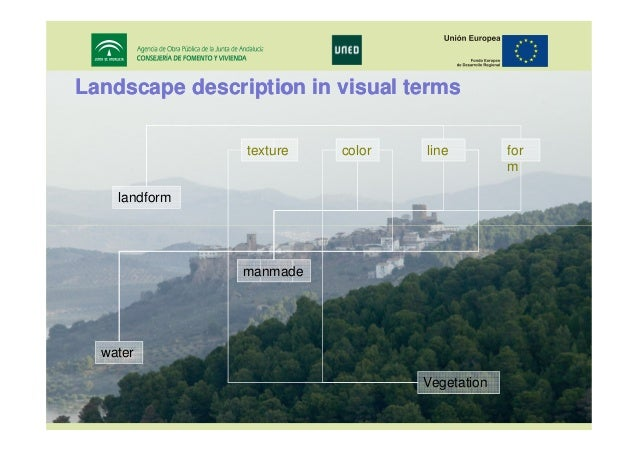 Landscape description in visual terms texture  color  line  for m  landform  manmade  water Vegetation 17th IRF World Meet...