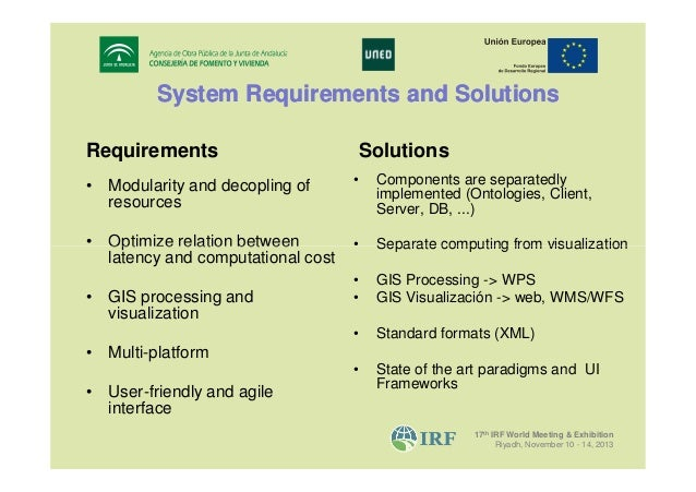 System Requirements and Solutions Requirements  Solutions  • Modularity and decopling of resources  •  Components are sepa...
