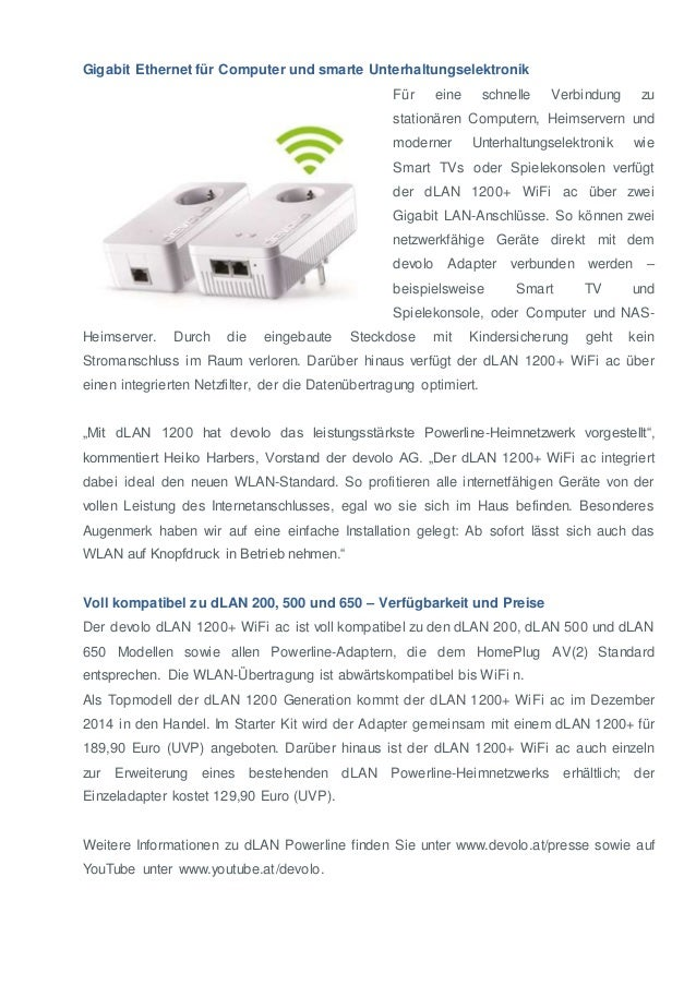 Gigabit Ethernet für Computer und smarte Unterhaltungselektronik  Für eine schnelle Verbindung zu  stationären Computern, ...