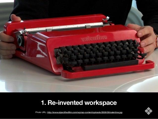 1. Re-invented workspace Photo URL: http://www.objectifiedfilm.com/wp/wp-content/uploads/2008/08/valentine.jpg