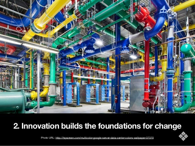 2. Innovation builds the foundations for change Photo URL: http://hqscreen.com/multicolor-google-server-data-center-colors...
