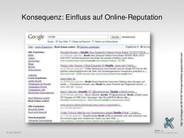 http://pr-blogger.de/2010/03/19/morgenweltlady-gagastudiemusik/  Konsequenz: Einfluss auf Online-Reputation  © xeit GmbH