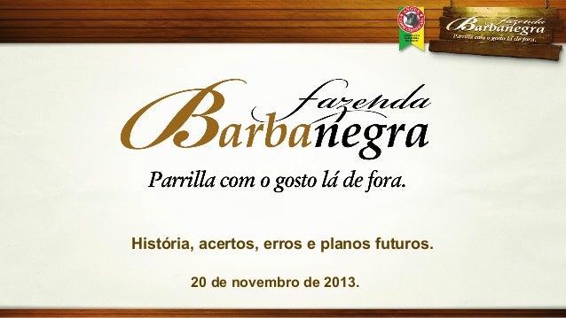 História, acertos, erros e planos futuros. 20 de novembro de 2013.