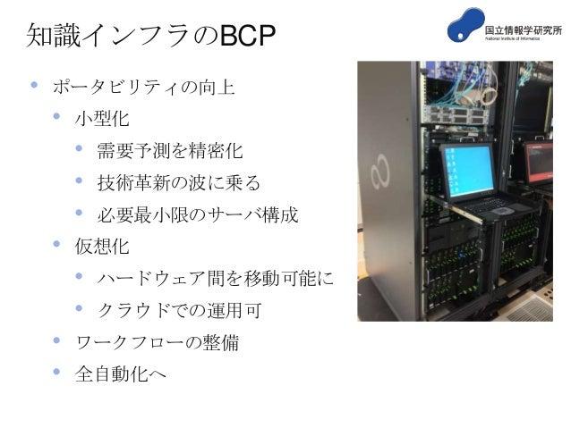 知識インフラのBCP •  ポータビリティの向上  •  小型化  • • •  •  技術革新の波に乗る 必要最小限のサーバ構成  仮想化  • •  • •  需要予測を精密化  ハードウェア間を移動可能に クラウドでの運用可  ワークフロ...