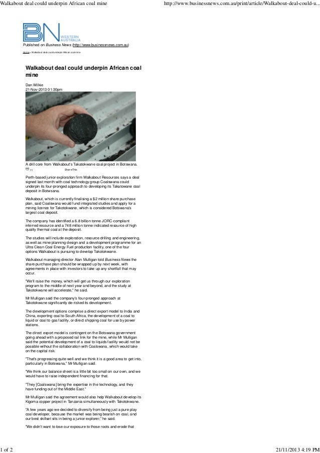 Walkabout deal could underpin African coal mine  1 of 2  http://www.businessnews.com.au/print/article/Walkabout-deal-could...