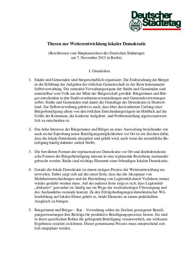Thesen zur Weiterentwicklung lokaler Demokratie (Beschlossen vom Hauptausschuss des Deutschen Städtetages am 7. November 2...