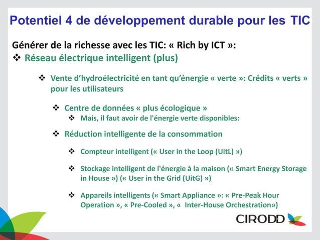 Potentiel 4 de développement durable pour les TIC Générer de la richesse avec les TIC: « Rich by ICT »:  Réseau électriqu...