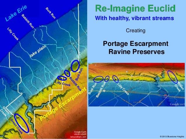 With healthy, vibrant streams Creating  Portage Escarpment Ravine Preserves  Google Earth USGS LiDAR railsandtrails.com  ©...