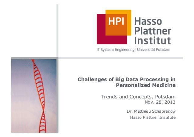 Challenges of Big Data Processing in Personalized Medicine Trends and Concepts, Potsdam Nov. 28, 2013  Dr. Matthieu Schapr...