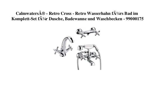 Calmwaters® - Retro Cross - Retro Wasserhahn fürs Bad im Komplett-Set für Dusche, Badewanne und Waschbecken - 99000175