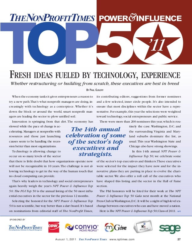 •August 1 2011 NPT.qxd  7/19/11  4:09 PM  Page 27  ★ T OP5O THENONPROFITTIMES  POWER&INFLUENCE  '11  FRESH IDEAS FUELED BY...