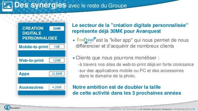 Des synergies avec le reste du Groupe 30M€ CREATION DIGITALE PERSONNALISEE  Mobile-to-print  1M€  Web-to-print  12M€  Apps...