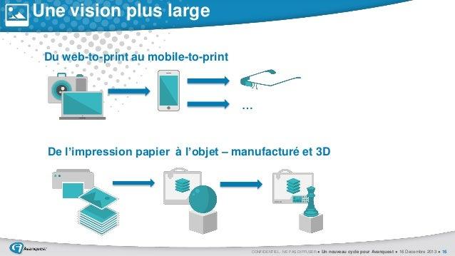 Une vision plus large Du web-to-print au mobile-to-print  …  De l'impression papier à l'objet – manufacturé et 3D  CONFIDE...