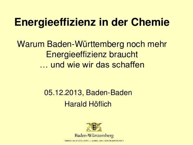 Energieeffizienz in der Chemie Warum Baden-Württemberg noch mehr Energieeffizienz braucht … und wie wir das schaffen 05.12...