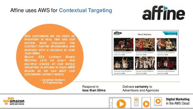 Affine uses AWS for Contextual Targeting  OUR  CUSTOMERS BID ON VIDEO AD INVENTORY IN REAL TIME AND OUR SYSTEM MUST EVALUA...