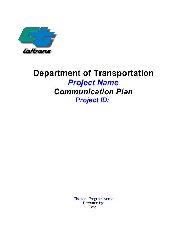 Caltrans communication plan template for Transport management plan template